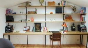 bureau, bibliothèque de style industriel acier et chêne