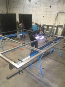 menuiserie acier en cours de fabrication